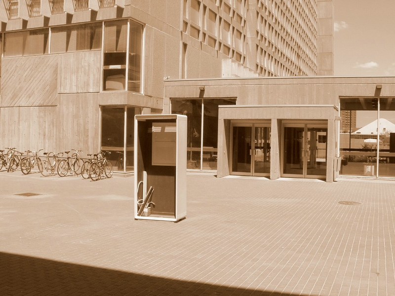 A box in front of the library, or something.