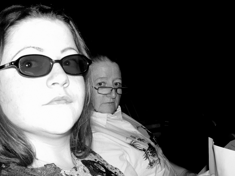 My sister and ma, in black and white.