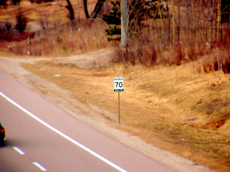 A speed sign - 70kph.